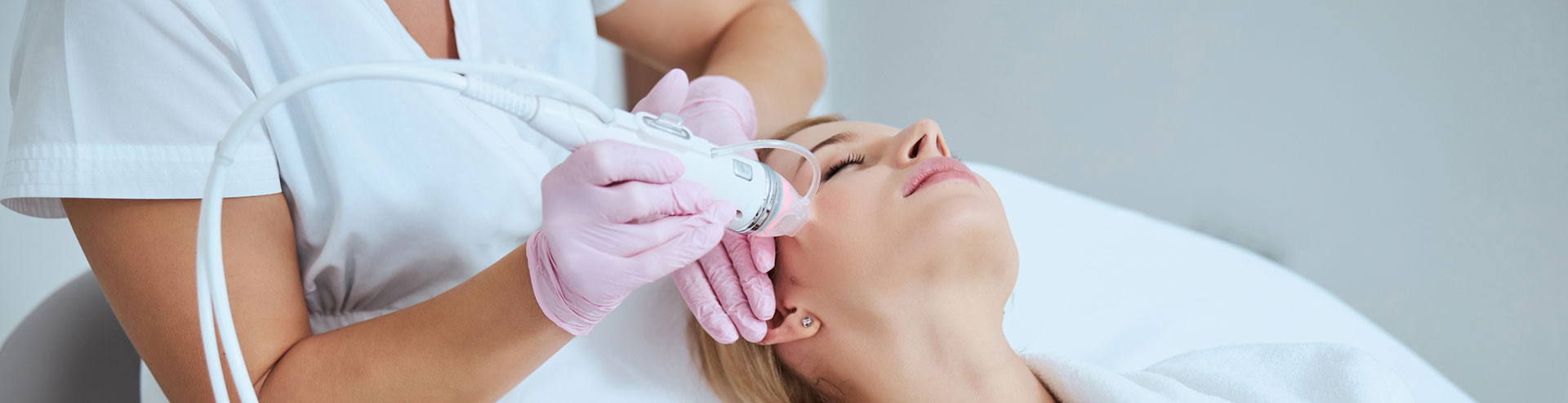 A woman is having Radio Frequency Microneedling treatment
